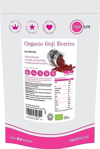 PINK SUN Bayas de Goji Organicas 500g Ecológicas Mejor Tamaño Grande Tibetano - Tibetan Organic Goji
