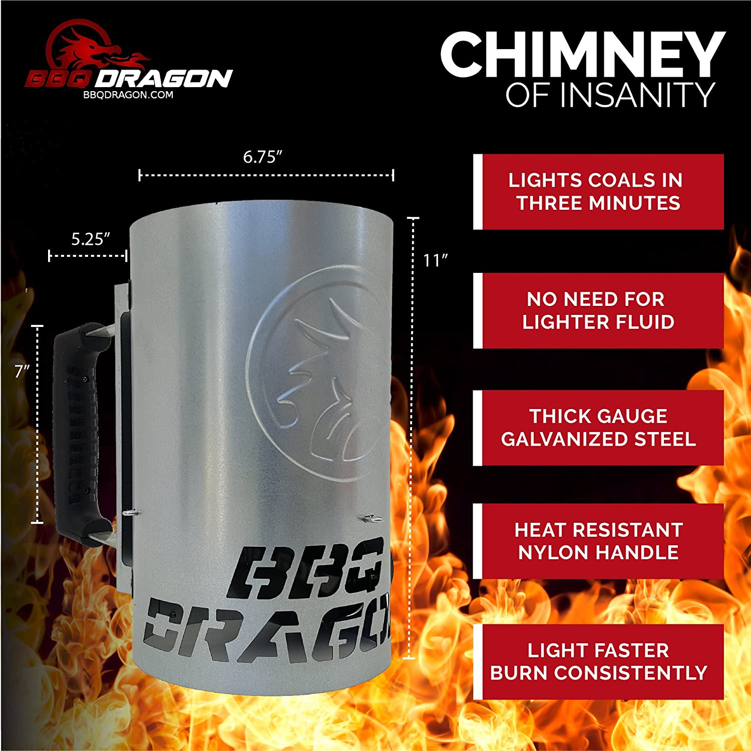 BBQ Dragon Chimney of Insanity Charcoal Starter - The Fastest and Easiest Charcoal Chimney Starter for BBQ Grills : Garden & Outdoor