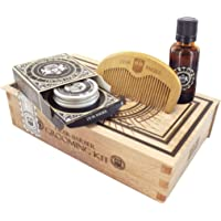 Dear Barber Collection de toilettage de barbe contenant huile de barbe 30ml, baume de barbe 30ml & peigne à barbe, Coffret cadeau de noel
