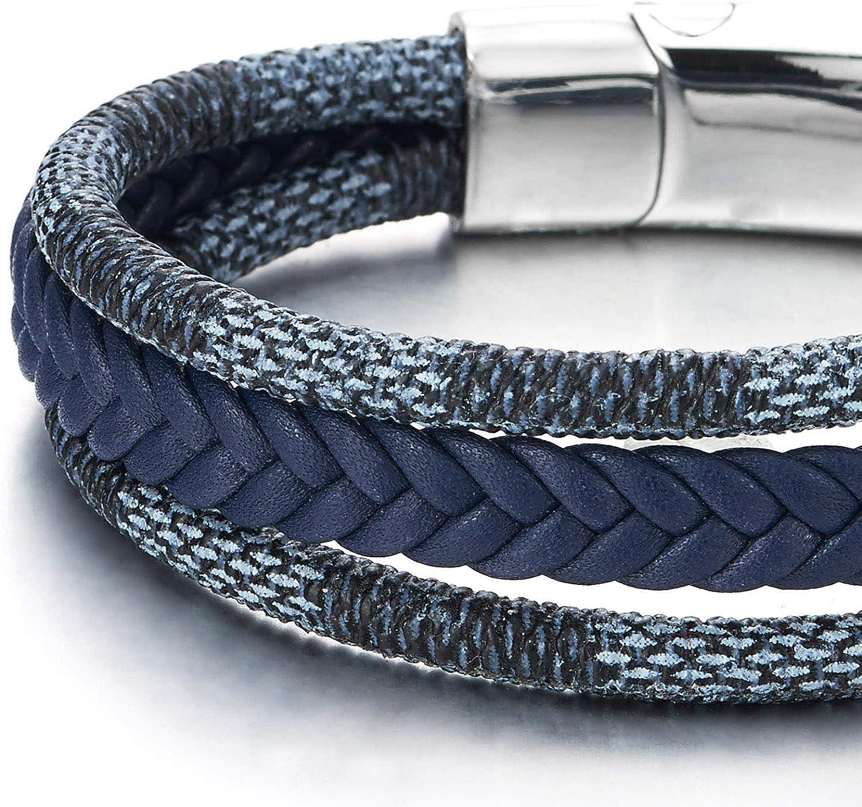 Femme Homme Envelopper Bracelet avec Fermoir Magn/étique COOLSTEELANDBEYOND Voile Marin Bracelet en Bleu Fonc/é Blanc Coton Corde Tress/é