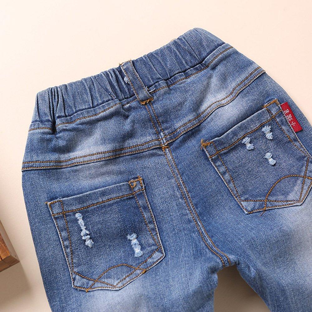 Kidscool Baby and Little Girls Elastic Waist Ripped Holes Denim Pants Jeans Blue 3 - 4 Years by Kidscool (Image #5)