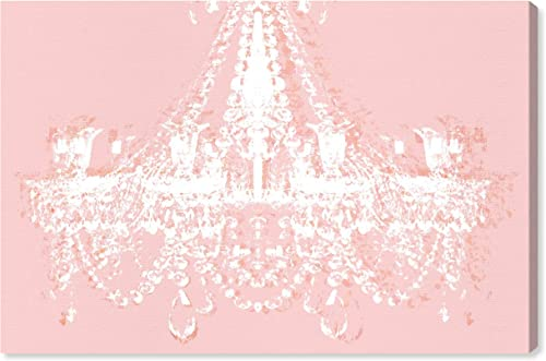 The Oliver Gal Artist Co. Oliver Gal 'Dramatic Entrance Ballet Slippers' Pink Classic Chandelier Wall Art Print Premium Canvas 60″ x 40″