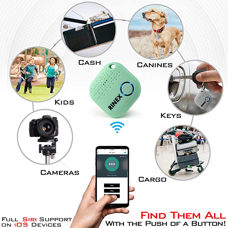 Bluetooth Key Finder – Key Locator Device with App, Siri Compatibility, Extra Battery – Anti-Lost GPS Keychain Tracker Device for Phone, Luggage...