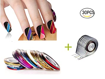 Amazon healthcom 30 pcs rolls striping tape nail art line healthcom 30 pcs rolls striping tape nail art line nail decoration stickers striping tape mixed colors prinsesfo Images