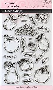 Stamp Simply Clear Stamps Fruit Shapes Grapes, Apples, Cherries and More 4x6 Inch Sheet - 19 Pieces