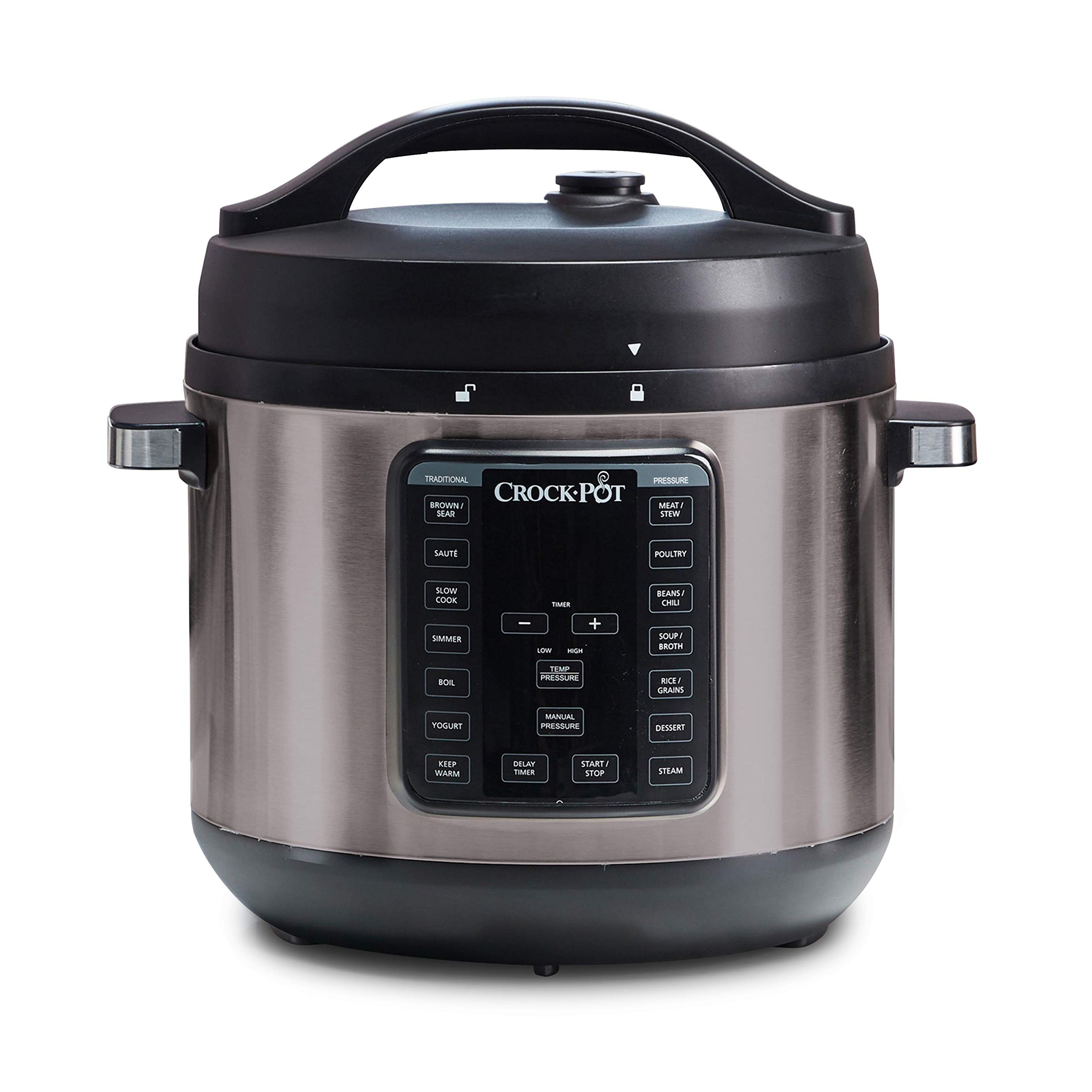 Crock-Pot 8-Quart Multi-Use XL Express Crock Programmable Slow Cooker and Pressure Cooker with Manual Pressure, Boil & Simmer, Black Stainless