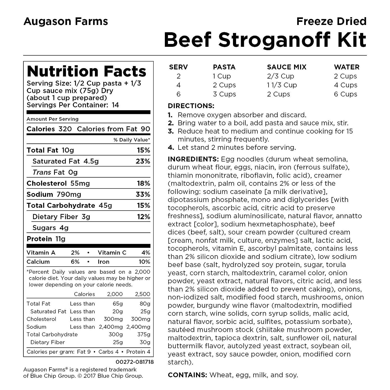 Amazon.com: Las granjas de augason liofiliza Beef Stroganoff ...