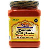 Rani Kashmiri Chilli Powder (Deggi Mirch, Low Heat) Ground Indian Spice 16oz (1lb) 454g PET Jar ~ All Natural   Salt-Free   V