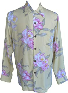 product image for Paradise Found Mens Orchid Corsage Kamehameha Style Long Sleeve Shirt Soft Yellow S