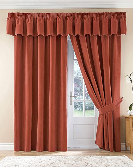 Thermal Velour Velvet Curtains Finished In Terracotta 46quot