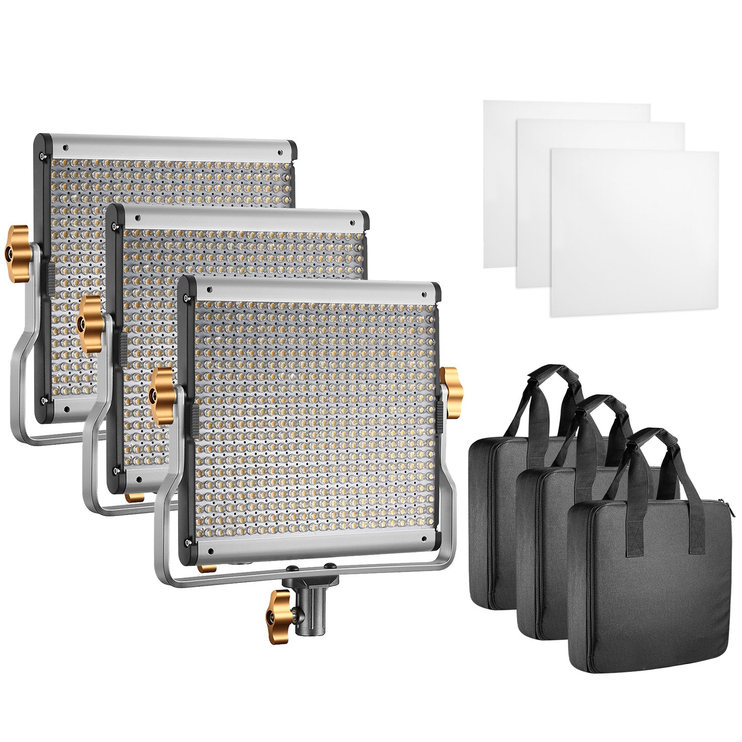 Neewer Professional Photography 3-Pack 480 LED Video Light - Dimmable Bi-Color LED Panel with U Bracket (3200-5600K, CRI 96+) for Photo Studio Portrait, Product, YouTube Video Shooting by Neewer