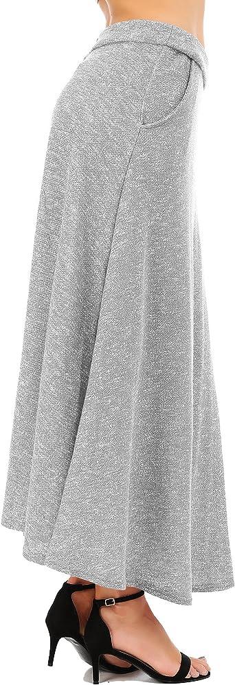 Fisoul Aux Femmes Ancien Une Ligne Jupe Evasee Taille Haute Jupe Longue Jupe Midi Chute Hiver Gris L Amazon Fr Vetements Et Accessoires