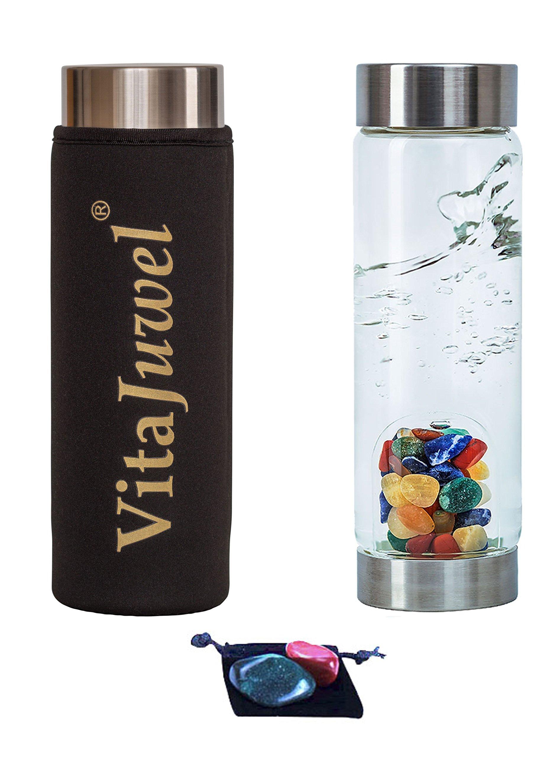 Kids VitaJuwel ViA Gemwater Bottle with Neoprene Sleeve, 2 Worry Stones and Velvet Pouch (5 Piece Bundle) Imprints Plus (02209)…