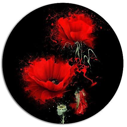 Amazon Designart Mt14022 C11 Luxurious Red Poppy Flower On