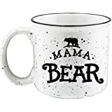 Shop4Ever Mama Bear Novelty Campfire Speckled Ceramic Coffee Mug Tea Cup Gift ~ Mother's Day ~ (Black/White, 15 oz.)
