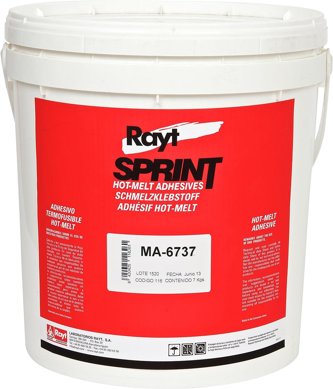 Rayt 116-26 Sprint Adhesivo termofusible Hot-Melt para encolado de cantos. Alta estabilidad térmica, indicado para poliéster, melamina, chapa de madera y PVC/ABS, 7kg