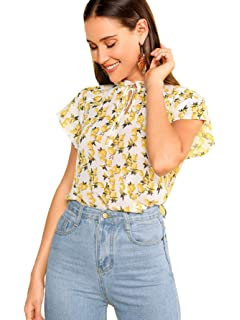 9953a49d9e6c WDIRARA Women's Fashion Tie Neck Floral Print Cap Sleeve Frill Blouse Top