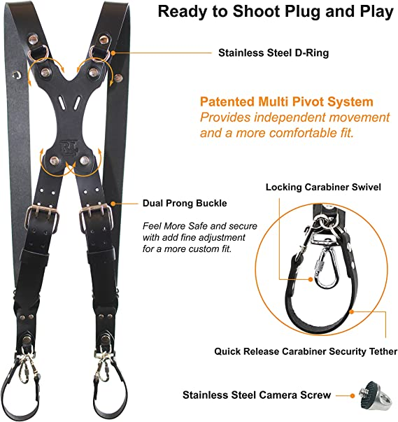 DLSR X-Small, Coffee Rebel Dual Handmade Leather Camera Harness Point /& Shoot Made in The USA Mirrorless Sling /& Strap RL Handcrafts
