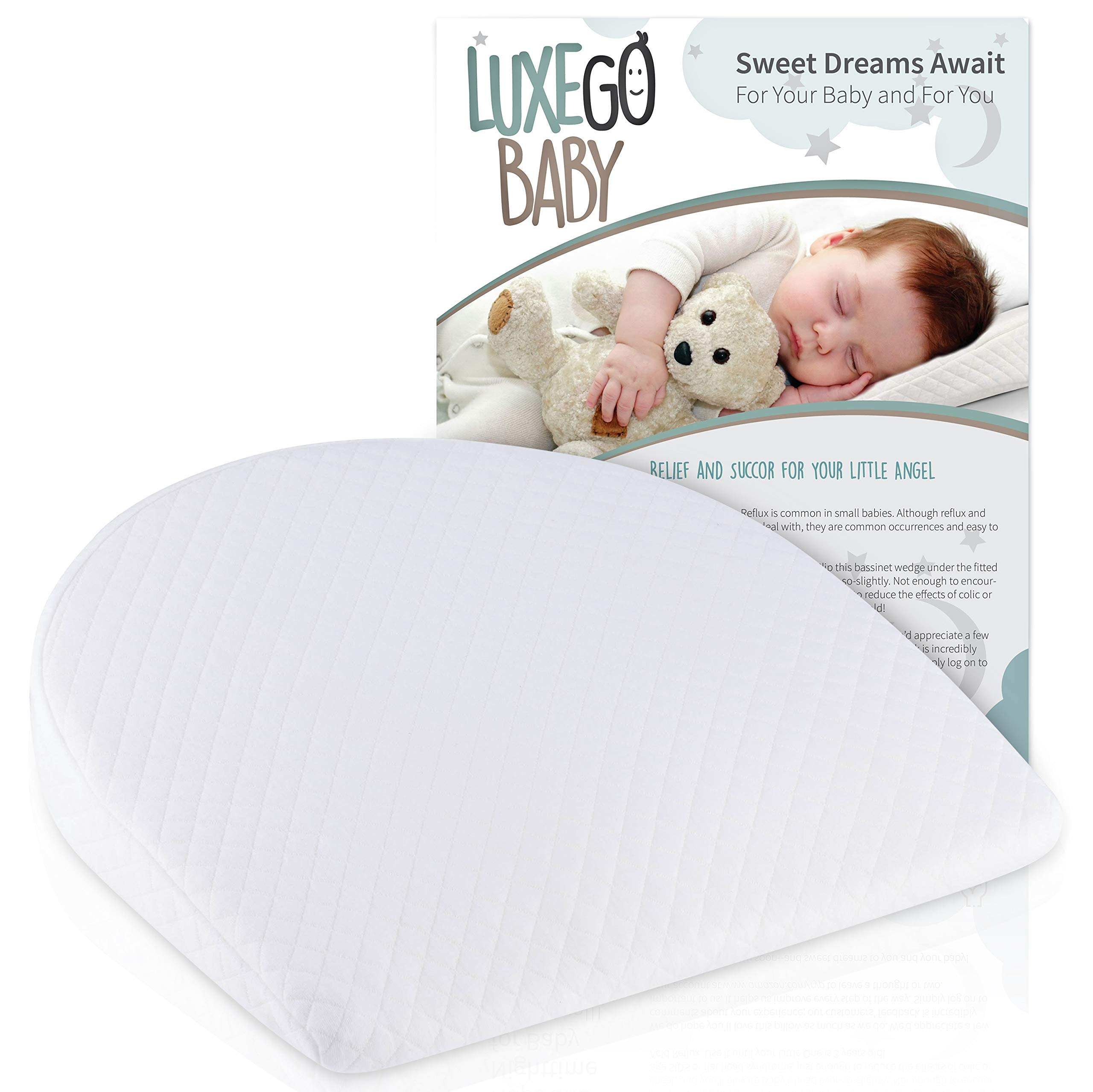 LuxeGo Baby Universal Bassinet Wedge for Reflux Colic & Spit Ups | Organic Cotton Waterproof Cover with Anti-Slip Backing | Sleep Positioner for Baby for a Goodnight's Sleep | Newborn Babies & Infants by LuxeGo Baby