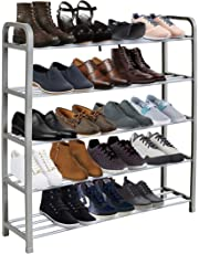 KEPLIN 5 Tier Heavy Duty Metal Shoe Rack, Quick Assembly No Tools Required, Holds upto 20 pairs (L) 71cm x (W) 18cm x (H) 76cm