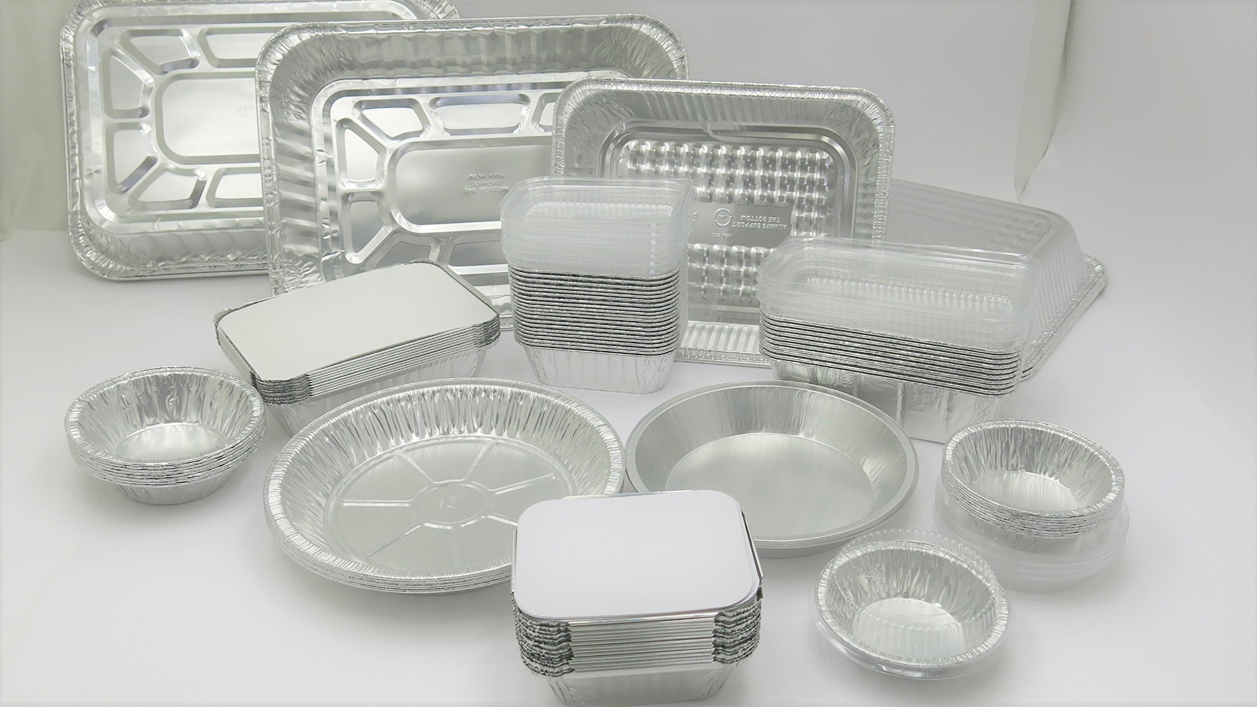 KitchenDance Disposable Aluminum Holiday/Party Pack of Pans. Roasting pans, Steam Table Pans, Food Savers, Loaf pans & Pie Pans. Value Pack of 95 pans!