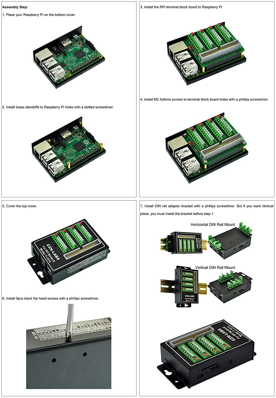 f/ür Raspberry Pi 1 2 3 Modell B//B+ CZH-LABS RPi Schraubklemmenblock Breakout Modul mit Aluminiumgeh/äuse