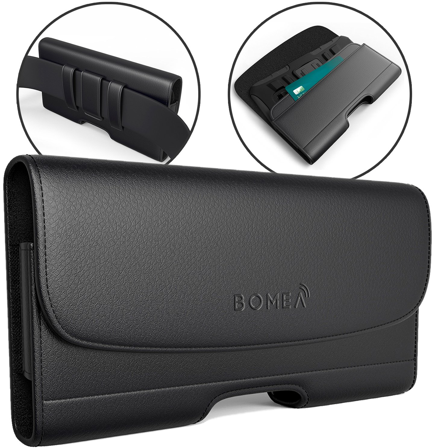 outlet store 14ea6 bc93b Bomea Premium iPhone X Case, Leather Holster Belt Case with Clip Loops Belt  Pouch Sleeve Holder Cover for Apple iPhone X Phone Built In Wallet ID Card  ...