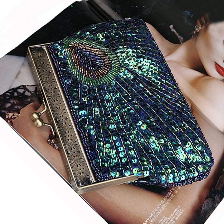 cb69ab17fb EVEOUT Vintage Femme Embrayage Paon Sarcelle Antique Perlé Sequin Soirée Sac  À Main Turquoise œil Attrapant Le Concepteur De Mode Élégant Bourse Pour  Les ...