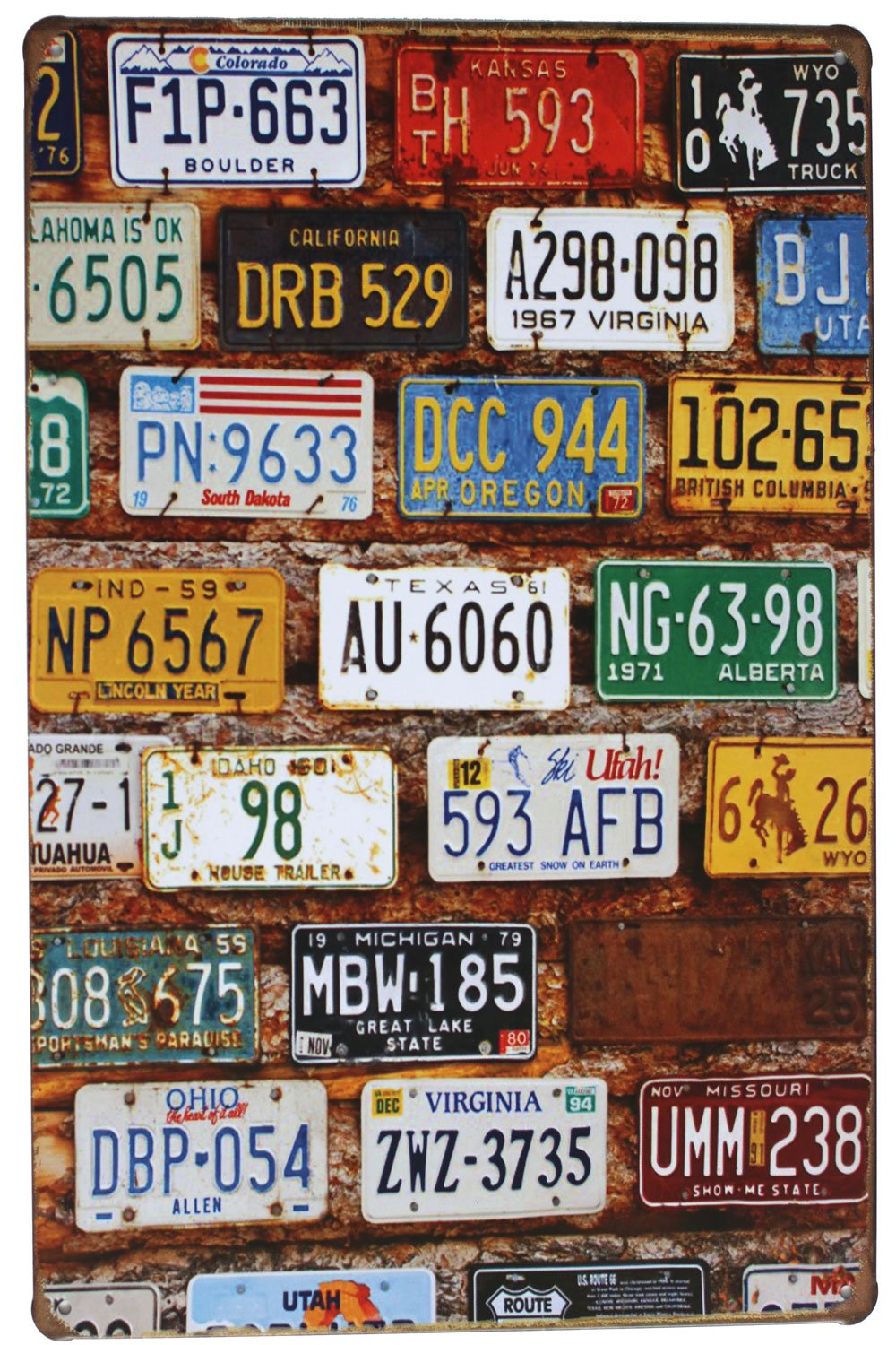 SUMIK Many Car Licenses Plate Metal Tin Sign Vintage Poster Plaque Garage Bar Home Wall Decor 20 X 30 cm China