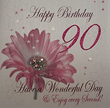 White Cotton Cards 1 Piece Happy 90th Birthday Extra Large Card Pink