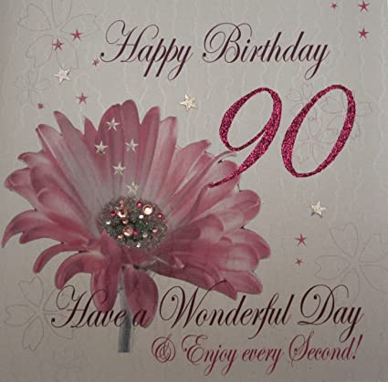 Amazon White Cotton Cards 1 Piece Happy 90th Birthday Extra