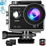 Jeemak 4K Sports Action Camera 98ft Waterproof Cam with Touch Screen WiFi Remote Control