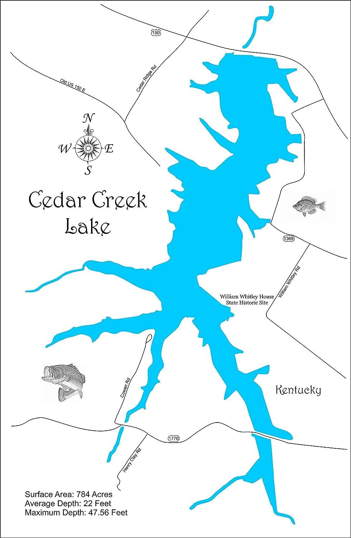 Amazon.com: Cedar Creek Lake, Kentucky: Standout Wood Map Wall ... on