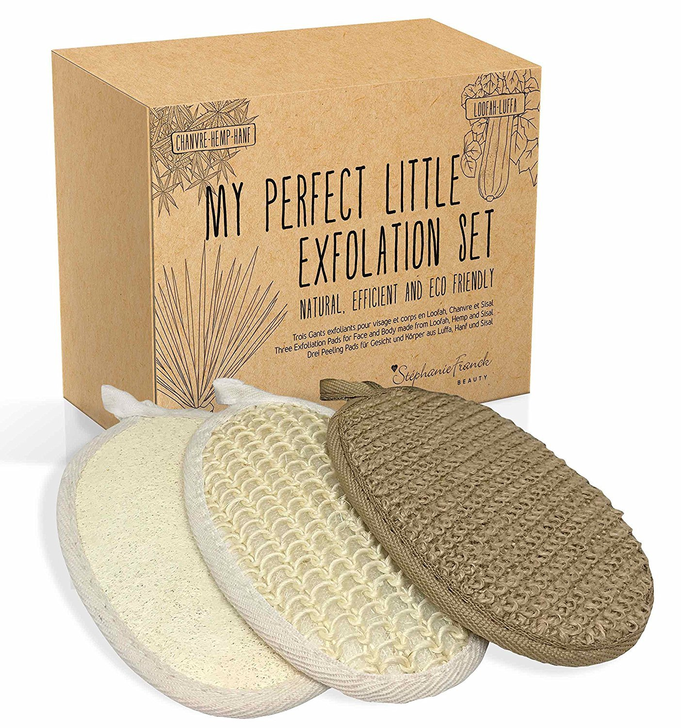 Exfolation Set of 3 Body and Face Peeling Gloves made of natural Loofah sponge and Hemp and Sisal Fibres- Exfoliating and Cleansing - Excellent eco-friendly Gift Stephanie Franck