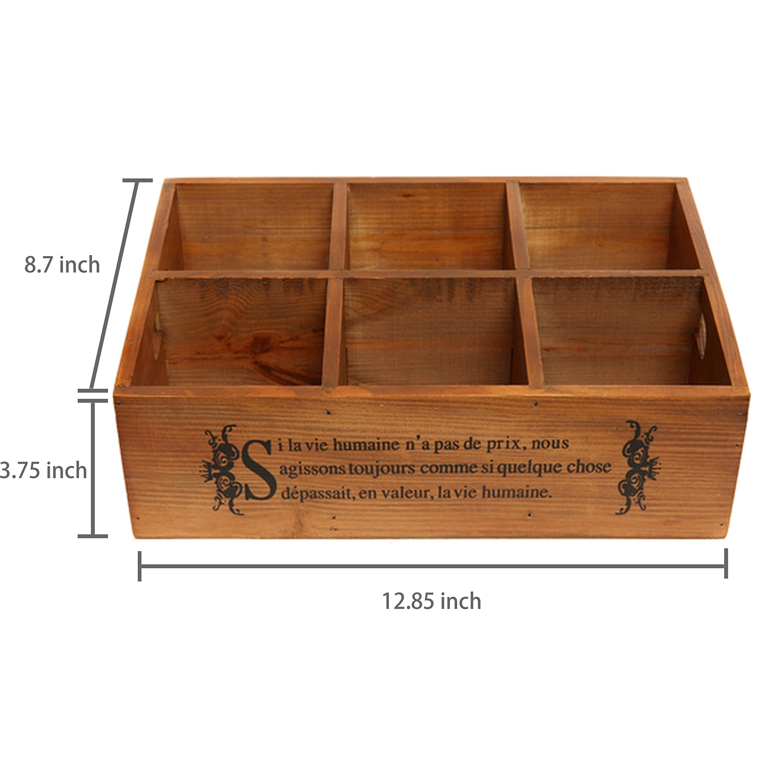 French Country Pinewood 6-Compartment Jewelry Organizer / Board Game Storage Box / Tea Holder - MyGift
