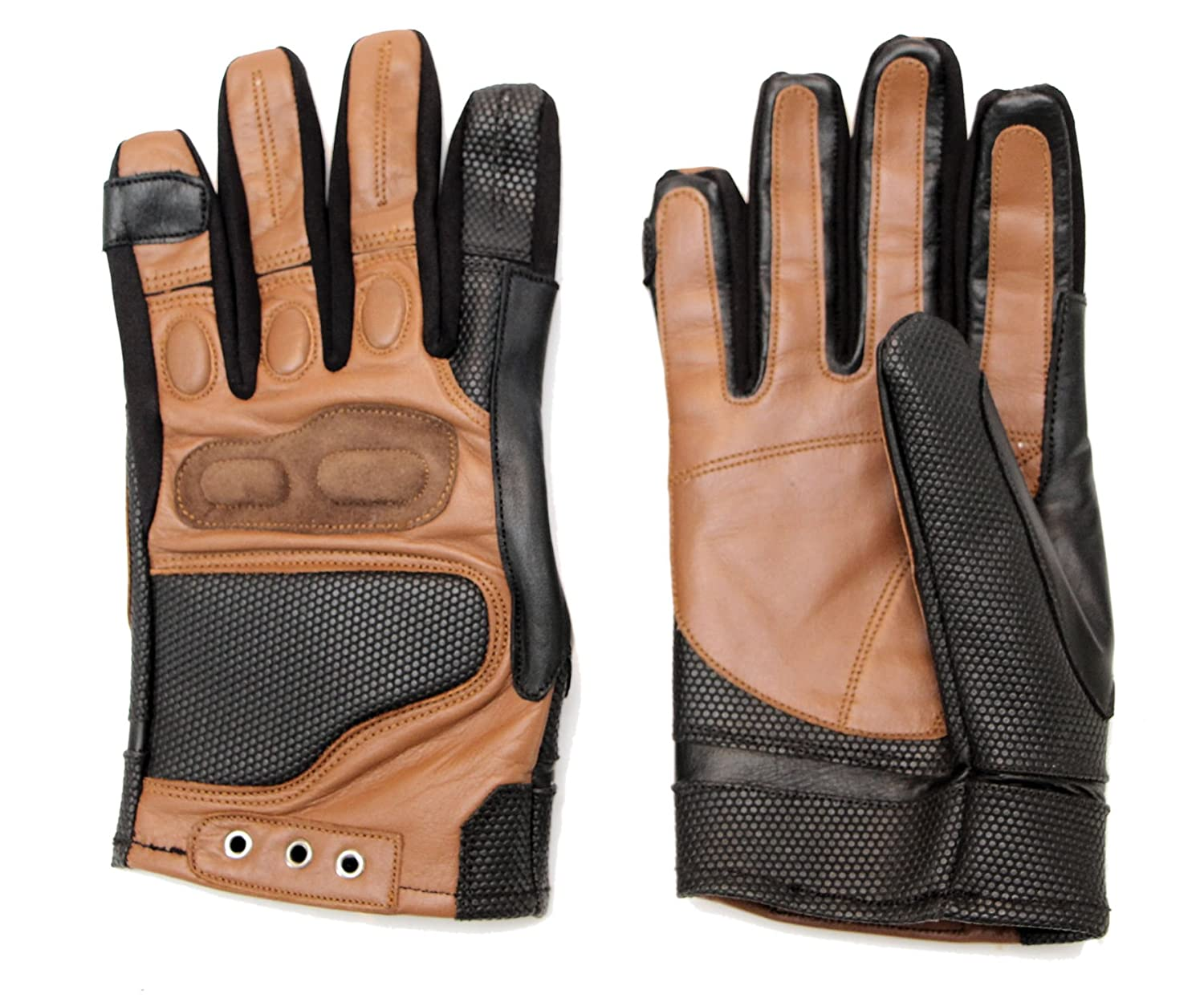Men's Star-Lord Peter Quill Brown Real Leather Tactical Gloves - DeluxeAdultCostumes.com