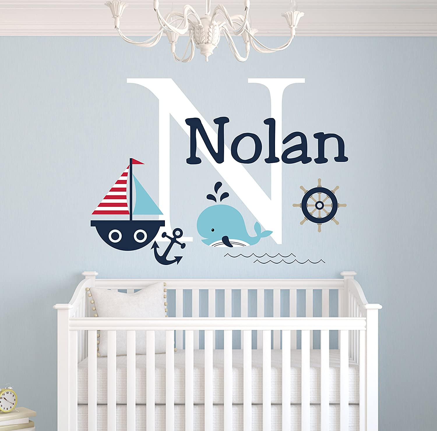 Wall Decals Personalized Name Decal Vinyl Sticker Whale Boy Baby Children Nautical Nursery Bedroom Decor Art Murals US6