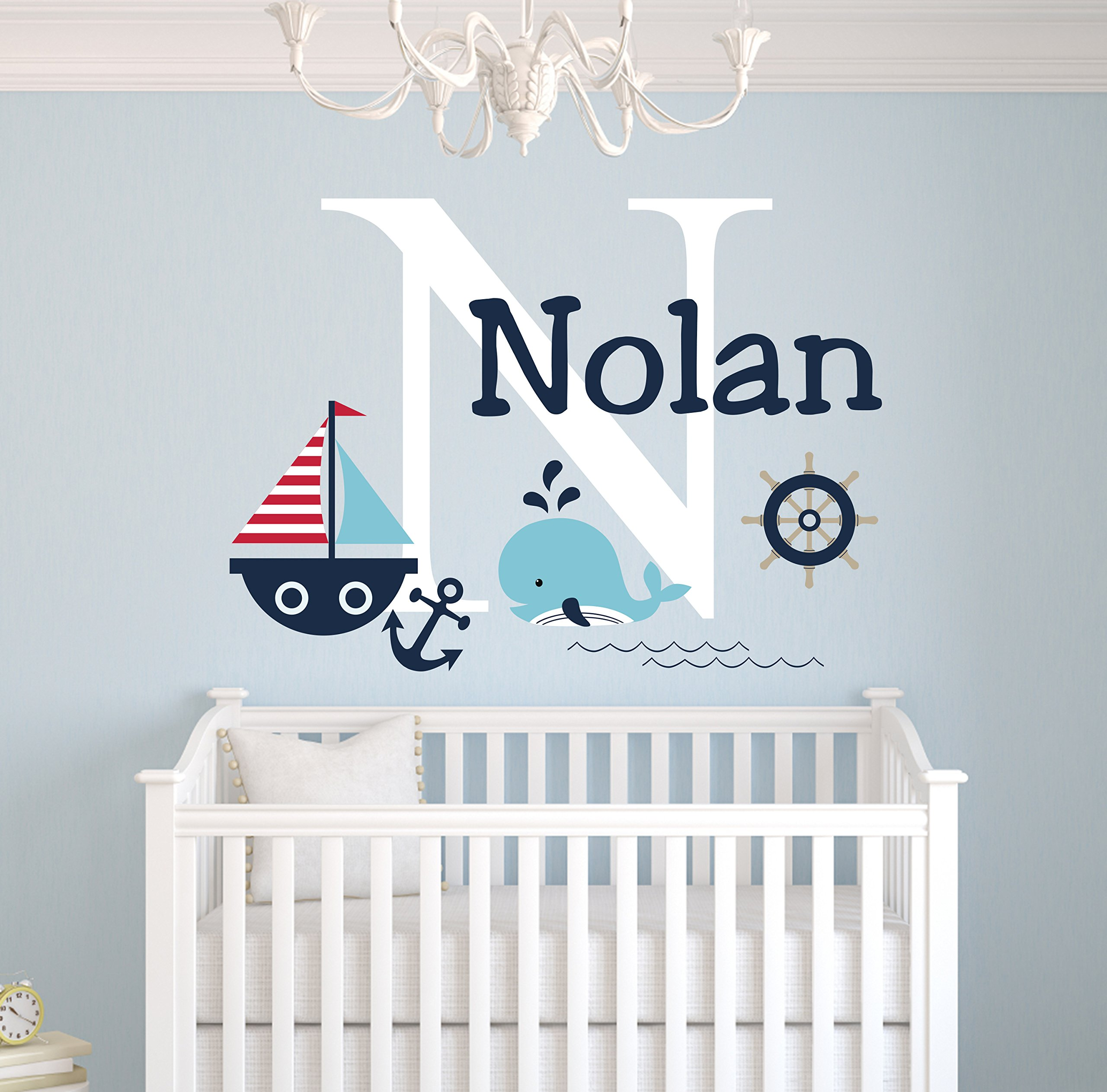 Personalized Nautical Theme Wall Decal - Nautical Decor - Nursery Wall Decals - Whale and Sailboat - Custom Vinyl Baby Nursery Decor by Decalzone Inc