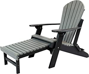 Amish Made Poly Folding Adirondack with Pull Out Ottoman (Slate on Black)