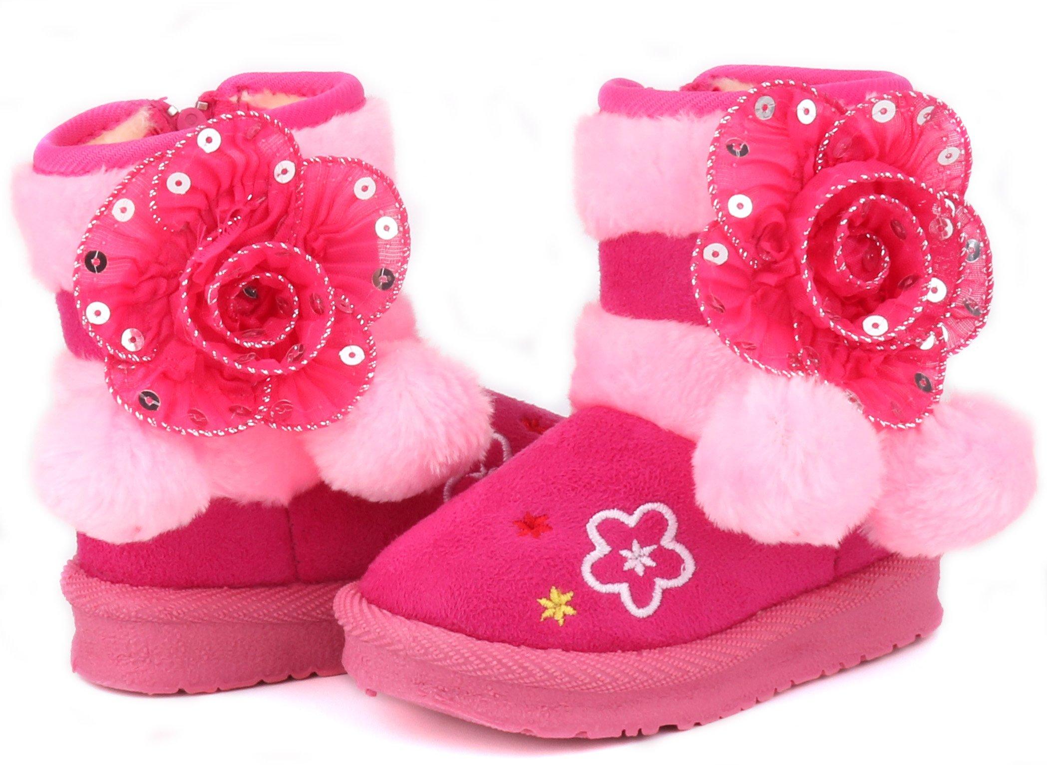 LONSOEN Little Girls Fur Lined Flower Winter Ankle Booties(Toddler/Little Kid)KDB042 Hotpink CN30