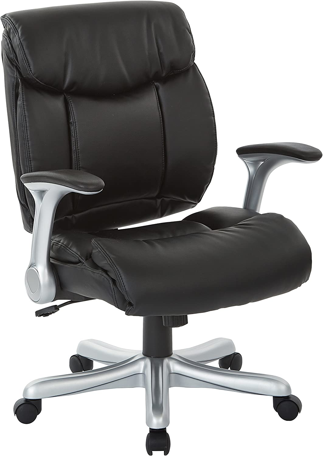 Office Star Bonded Leather Seat and Back with 2-Tone Stitching, Padded Flip Arms Executives Chair with Silver Finish Accents, Black