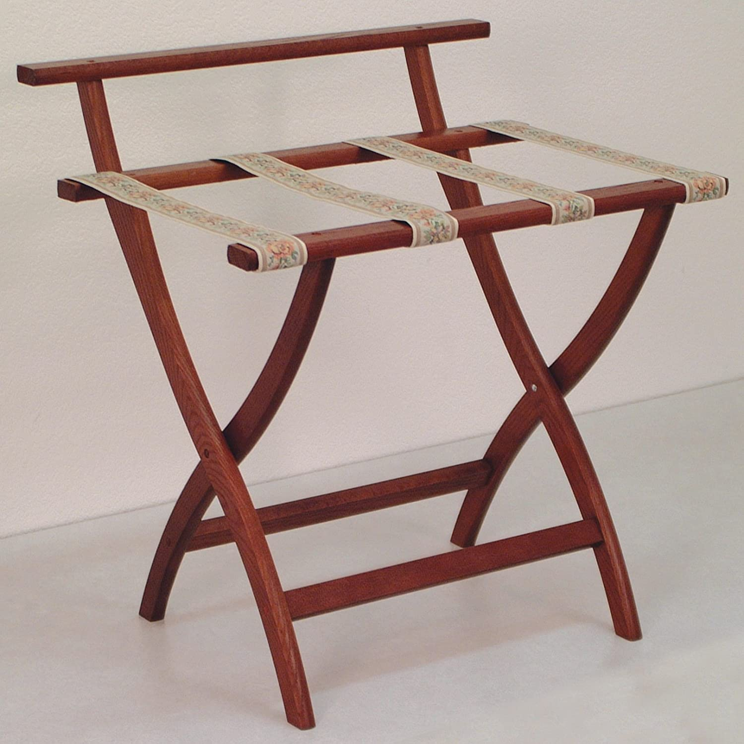 Wooden Mallet WallSaver Luggage Rack,Tapestry Straps, Mahogany