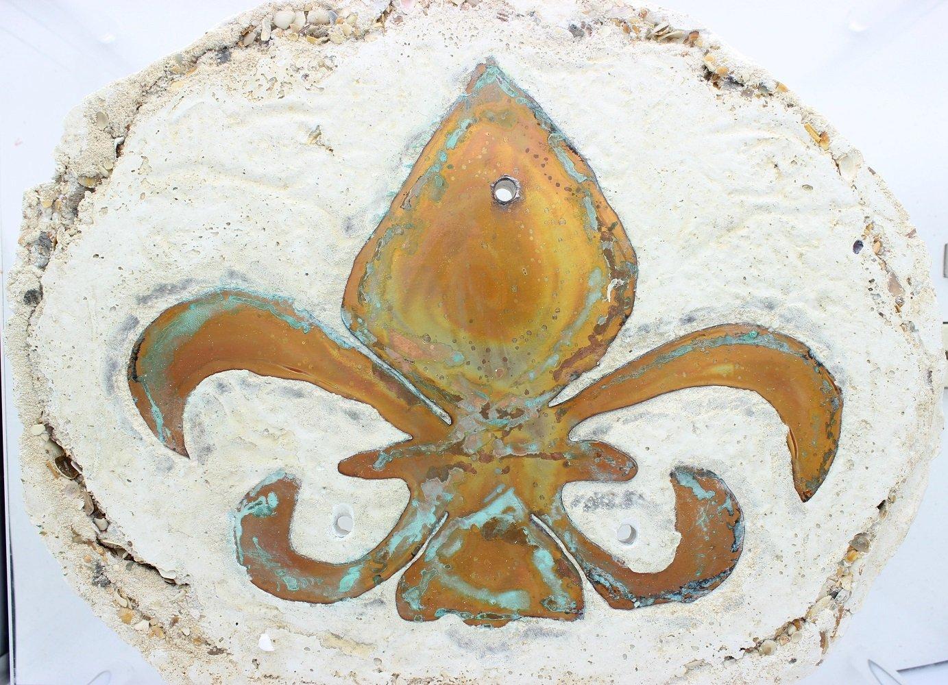 Fleur De Lis Concrete and Copper Oil Lamp, Appox 14'' x 15''.