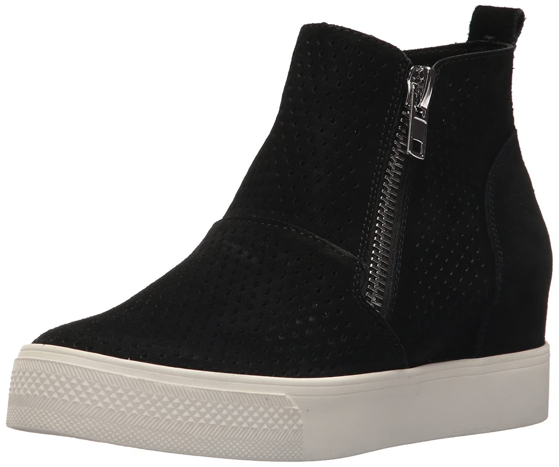 Steve Madden Women's Wedgie-P Sneaker B077GZ7PYT 10 B(M) US Black Suede