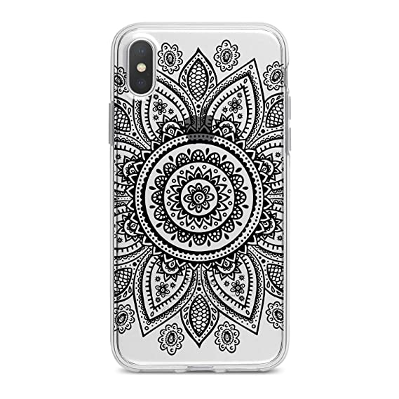 buy popular b44d5 2cf1b Lex Altern Mandala Case iPhone X 8 Plus 7 Xs Max 6s 6 SE 5s 5 TPU Clear  Pattern Flower Silicone Apple Phone Cover Boho Print Black Lightweight  Tribal ...