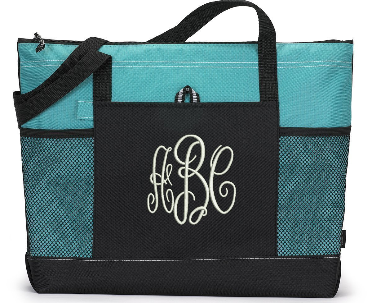 Monogrammed 3 Initial Zippered Tote Bag