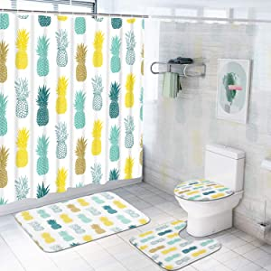4 Pcs Colorful Pineapple Shower Curtain Sets with Non-Slip Rugs, Toilet Lid Cover and Bath Mat, Blue Yellow Pineapple Shower Curtain with 12 Hooks, Cute Pineapple Bathroom Decor, Waterproof Curtain