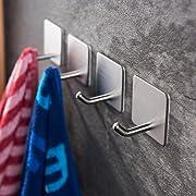YIGII Towel Hooks/Bathroom Hook   3M Self Adhesive Hooks Office Hooks  Hanging Keys For