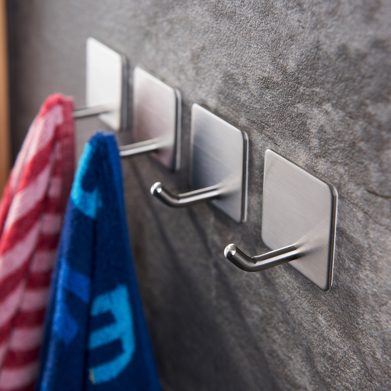 YIGII Towel Hooks/Bathroom hook - 3M Self Adhesive Hooks Office Hooks Hanging Keys for Kitchen Stick on Wall Stainless Steel 4 Packs