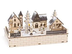 Small Foot Company Lámpara Villa Invernal de Madera Noble, decoración iluminación LED, música navideña y Pista de Patinaje eléctrica, Naturaleza